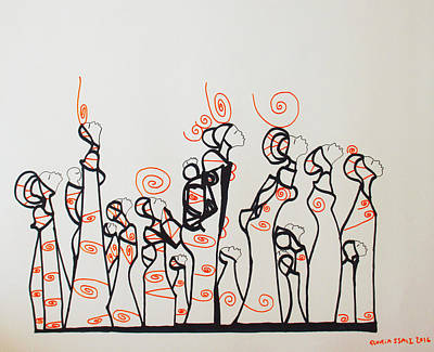 Drawing - Orange Bus Stop Blues by Gloria Ssali