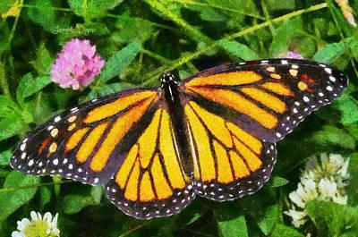 Antenna Painting - Orange Butterfly by Leonardo Digenio