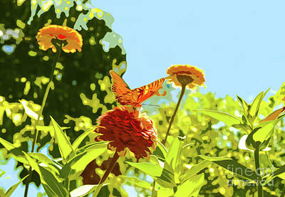 Digital Art - Orange Butterfly On Zinnia On Sunny Day by Susan Vineyard
