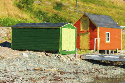 Photograph - Orange Cabin And Green Shed - Painterly by Les Palenik