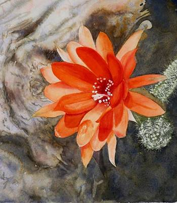 Painting - Orange Cactus Flower II by Deane Locke