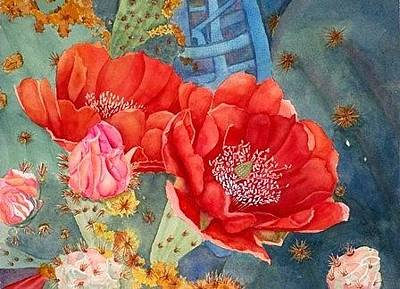 Painting - Orange Cactus Flowers by Deane Locke