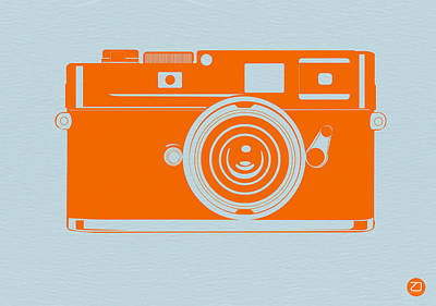 Orange Camera Print by Naxart Studio