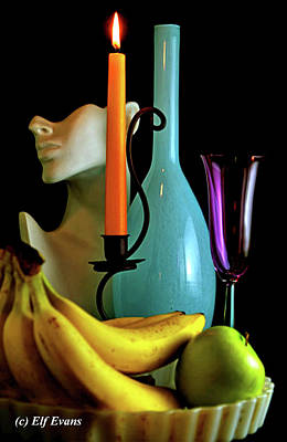 Photograph - Orange Candle And Blue Bottle by Elf Evans