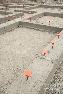 Orange Caps In Cement Foundation Art Print