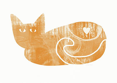 Orange Cat- Art By Linda Woods Art Print