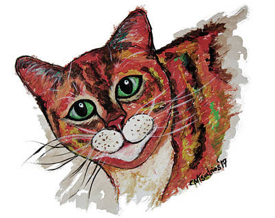 Painting - Orange Cat by Carol Tsiatsios