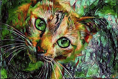 Photograph - Orange Cat - Green Eyes by Peggy Collins