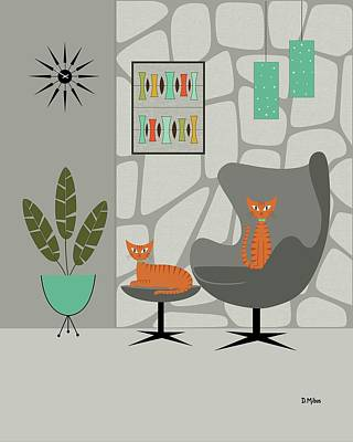 Digital Art - Orange Cat In Gray Stone Wall by Donna Mibus