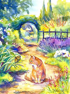 Orange Cat In The Garden Art Print by Peggy Wilson
