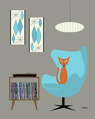 Digital Art - Orange Cat In Turquoise Egg Chair by Donna Mibus