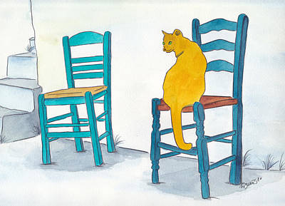 Orange Cat Art Print by Michaela Bautz