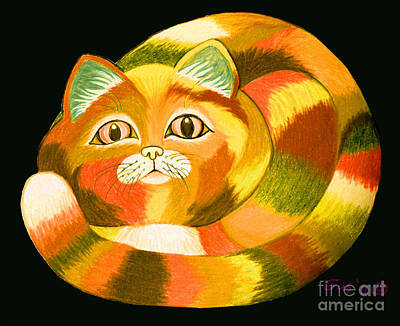 Color Pencil Drawing - Orange Cat by Nick Gustafson