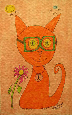 Painting - Orange Cat With Glasses by Lew Hagood