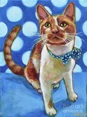 Painting - Orange Cat With Polka Dots by Robert Phelps