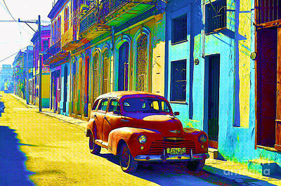 Old Street Mixed Media - Orange Classic Car - Havana Cuba by Chris Andruskiewicz