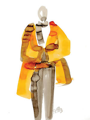 Indian Ink Painting - Orange Coat by Carl Griffasi