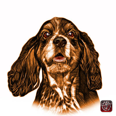 Mixed Media - Orange Cocker Spaniel Pop Art - 8249 - Wb by James Ahn