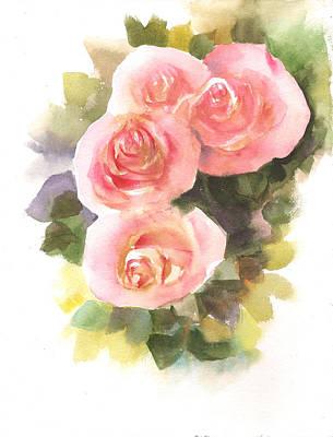 Painting - Orange- Cream Roses by Asha Sudhaker Shenoy