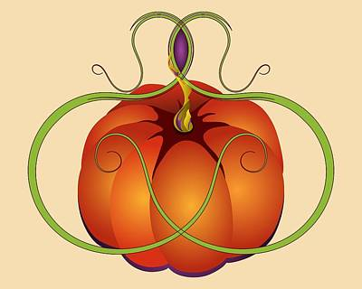 Digital Art - Orange Curvy Autumn Pumpkin Graphic by MM Anderson
