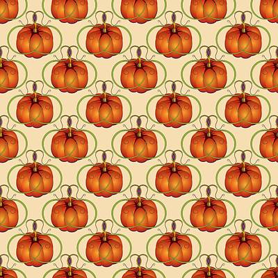 Digital Art - Orange Curvy Autumn Pumpkin Pattern by MM Anderson