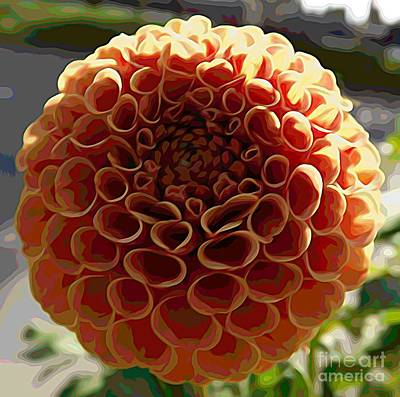 Mixed Media - Orange Dahlia Flower Melting Colors Effect by Rose Santuci-Sofranko
