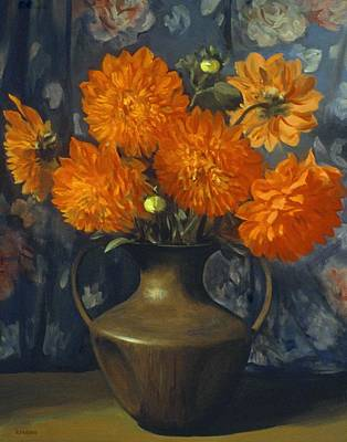 Painting - Orange Dahlias In Chinese Bronze Vase by Robert Holden