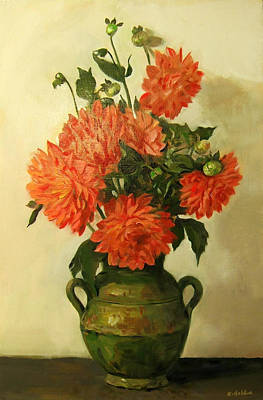 Painting - Orange Dahlias In Green Moroccan Vase by Robert Holden