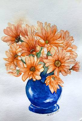 Painting - Orange Daisies B by Nancy Wait