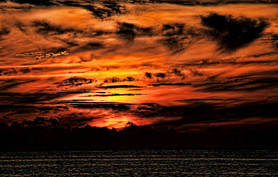 Photograph - Orange Dark Sunset by Bob Slitzan