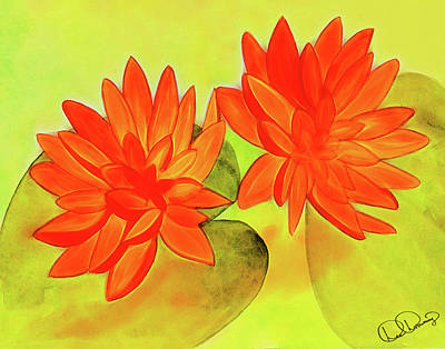 Painting - Orange Waterlily Watercolor Painting by Dee Browning