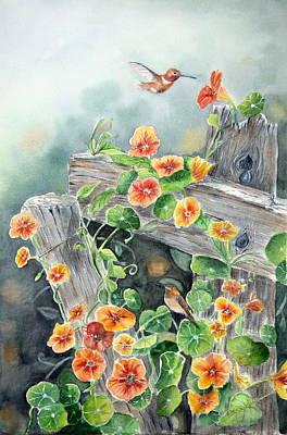 Nasturtiums Painting - Orange Delight by Patricia Pushaw
