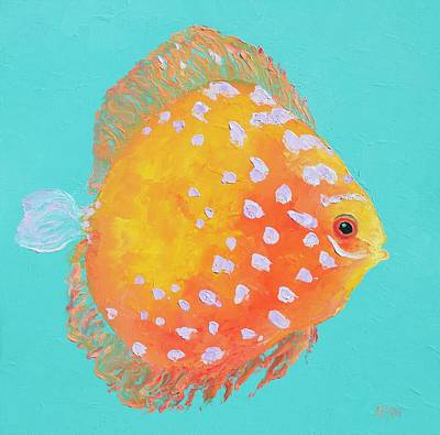 Painting - Orange Discus Fish With Purple Spots by Jan Matson