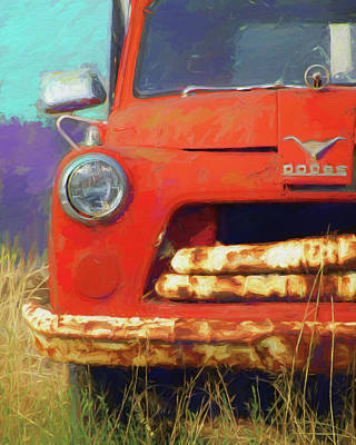 Digital Art - Orange Dodge Truck by David King