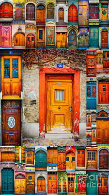 Photograph - Orange Door And Vine Mosaic by TK Goforth