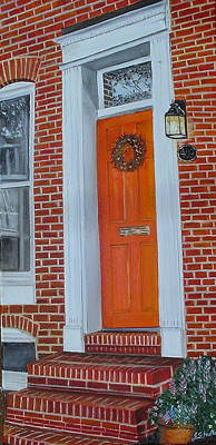 Painting - Orange Door Fells Point by John Schuller