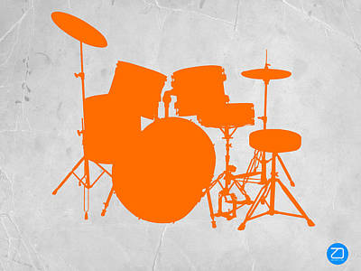 Drum Digital Art - Orange Drum Set by Naxart Studio