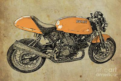 Birthday Gift Drawing - Orange Ducati, Original Handmade Drawing by Pablo Franchi