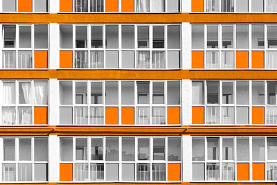 Orange Exterior Decoration Details Of Modern Flats Art Print