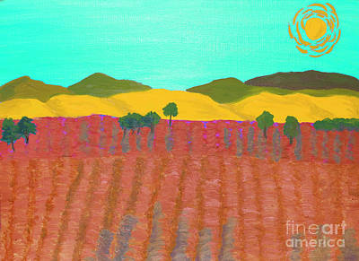 Painting - Orange Field, Painting by Irina Afonskaya