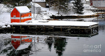 Orange Fishing Shack On A Dock In Maine Art Print