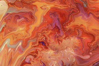 Photograph - Orange Flame. Acrylic Fluid Paints by Jenny Rainbow
