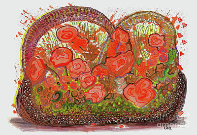 Painting - Orange Floral Basket by Corinne Carroll