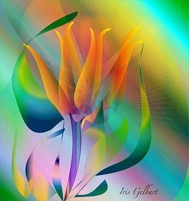 Digital Art - Orange Flower by Iris Gelbart