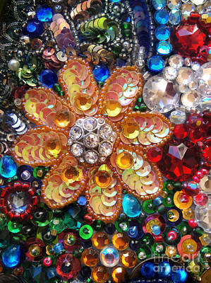 Bead Embroidery Photograph - Orange Flower Jeweled Beadwork. Bead Embroidery by Sofia Metal Queen