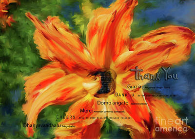 Digital Art - Orange Flower by Lisa Redfern