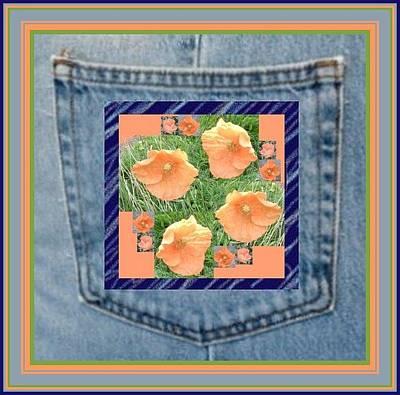 Pocket Photograph - Orange Flower Patch Pocket by Julia Woodman