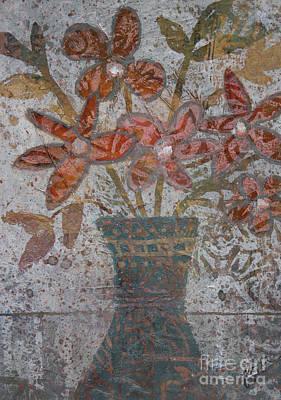Mixed Media - Orange Flowers And Turquoise Vase by Janyce Boynton