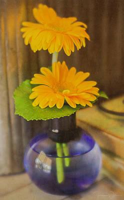 Photograph - Orange Flowers Blue Vase by Teresa Wilson