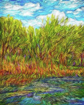 Digital Art - Orange Flowers Of The Lake by Joel Bruce Wallach